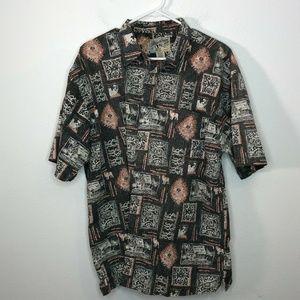 Authentic Big Dogs Men's Tiki Bar Aloha Shirt L